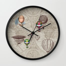 Balloon Festival Brown Wall Clock