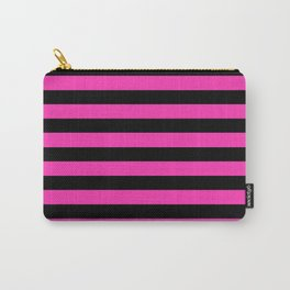 Hot Pink and Black Stripes Carry-All Pouch