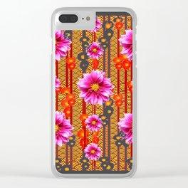 Purple Dahlias on Red & Orange Pattern Art Clear iPhone Case