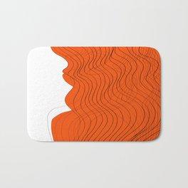 Waves Lines in Orange Bath Mat