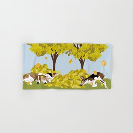 Coonhounds playing in autumn leaves Hand & Bath Towel