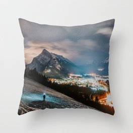 Banff at night Throw Pillow