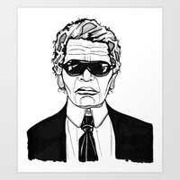 karl lagerfeld Art Prints featuring Uncle Karl Lagerfeld by Thompson ET Julienne