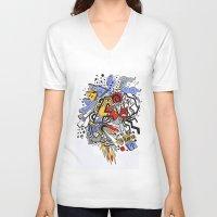 random V-neck T-shirts featuring Random by waldy chavez