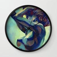 artgerm Wall Clocks featuring Pepper Motion by Artgerm™