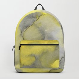 Hand painted gray yellow abstract watercolor pattern Backpack