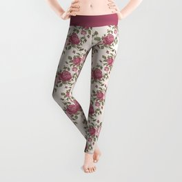 Shabby vintage pink burgundy green rose flowers Leggings