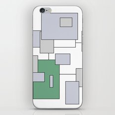 Squares - green, gray and white. iPhone & iPod Skin