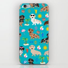 Dachshunds beach summer tropical vacation weener dogs doxie gifts iPhone Skin