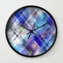 Blue Moving Squares Wall Clock