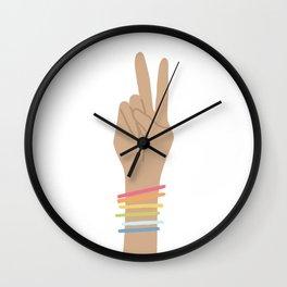 Rainbow 60's Peace Hand Sign Wall Clock