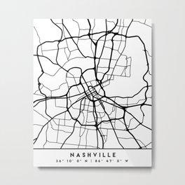 NASHVILLE TENNESSEE BLACK CITY STREET MAP ART Metal Print