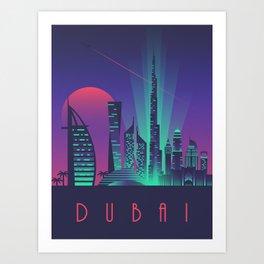 Dubai City Skyline Retro Art Deco Tourism - Night Art Print