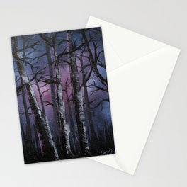 """into the woods"" a night forest landscape in oil Stationery Cards"