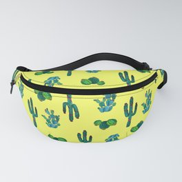 Gouache Watercolor cactus yellow background Fanny Pack