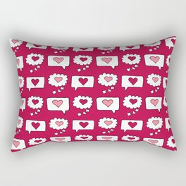 Doodle hearts and speech bubbles with a red background Rectangular Pillow