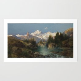 Snow-capped Rocky Mountains landscape painting by Thomas Moran Art Print