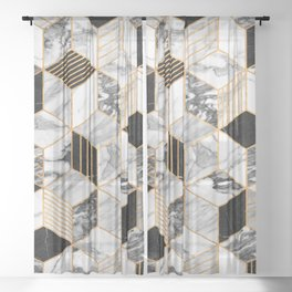 Marble Cubes 2 - Black and White Sheer Curtain
