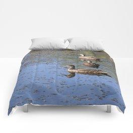 Ducks on a pond Comforters