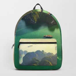 Halong Bay Eastern Uninhabited Emerald Green Aerial View Backpack