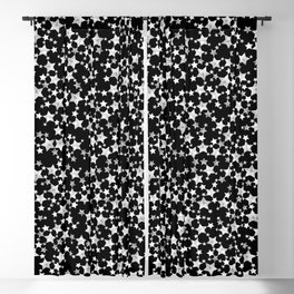 Hand Printed Black and White Stars Blackout Curtain