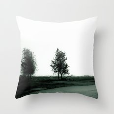 Blurry Trees Throw Pillow