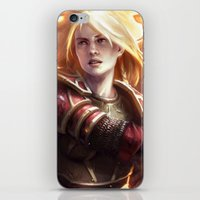 middle earth iPhone & iPod Skins featuring Female Guardian of Middle Earth by Tom Lee