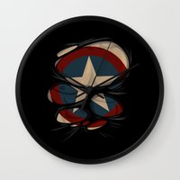 captain swan Wall Clocks featuring CAPTAIN by karakalemustadi