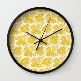 Pegasus Pattern Mustard Yellow Wall Clock