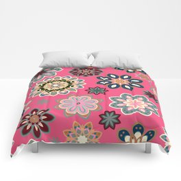 Flower retro pattern in vector. Blue gray flowers on pink background. Comforters