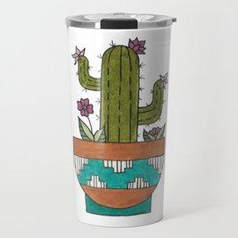 Flowering Kingcup Cactus Illustration - Potted Cacti Design Travel Mug