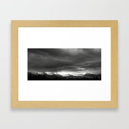 Sunrise over Kachemak Bay, Alaska - Black and White Framed Art Print