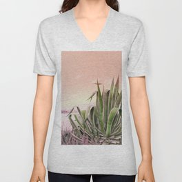 Agave in the Garden on Pastel Coral Unisex V-Neck