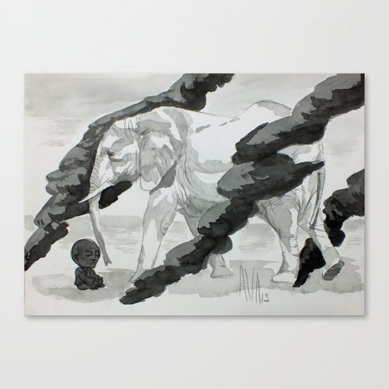 Wind and Elephant Canvas Print
