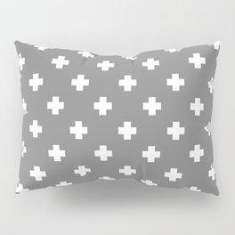 White Swiss Cross Pattern on Light Grey background Pillow Sham