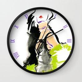 fashion #48: a woman in a fur jacket Wall Clock
