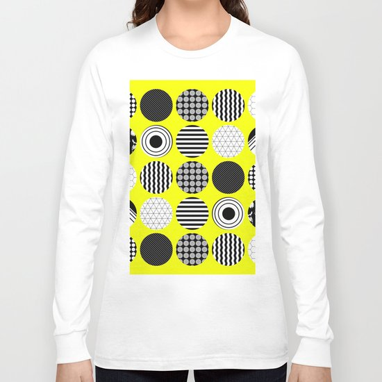 Eclectic Geometric - Black, white and yellow Long Sleeve T-shirt