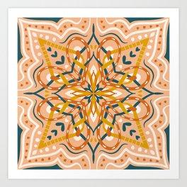 Teal and Brown Folk Art Mandala Art Print
