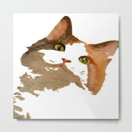 I'm All Ears - Cute Calico Cat Portrait Metal Print