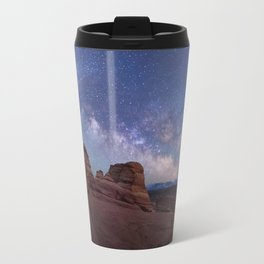 Delicate Arch Under the Starry Sky in Arches National Park Panorama Travel Mug