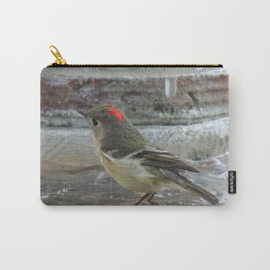 Ruby-Crowned Kinglet At The Fountain Carry-All Pouch