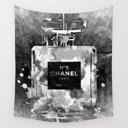 No 5 Black and White Wall Tapestry
