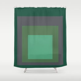 Block Colors - Greens and Grey Shower Curtain