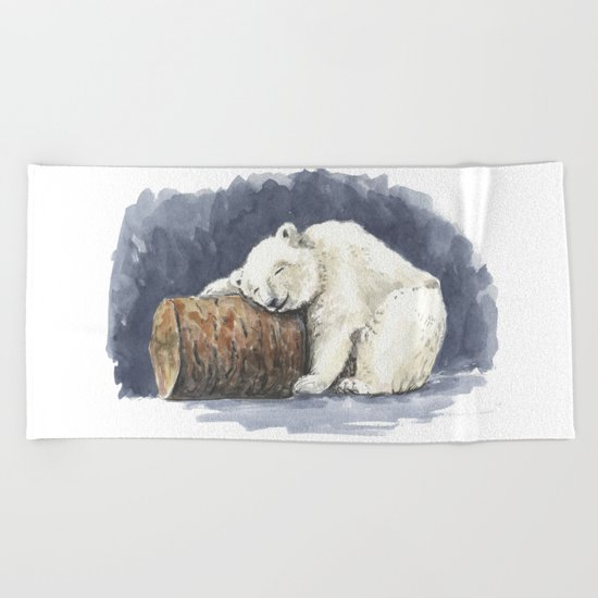 Sleeping polar bear, watercolor art Beach Towel