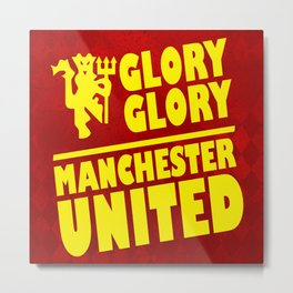 Slogan: Man United Metal Print