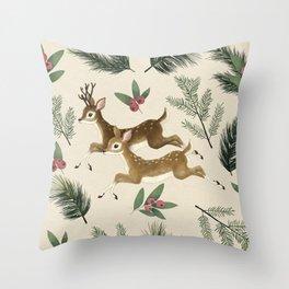 winter deer // repeat pattern Throw Pillow