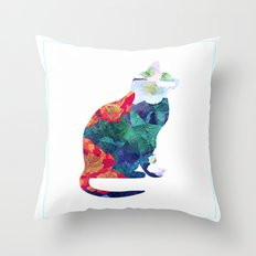 Flowered Cat Throw Pillow
