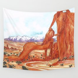 Arches National Park - Erotic Nature Couple Painting Wall Tapestry
