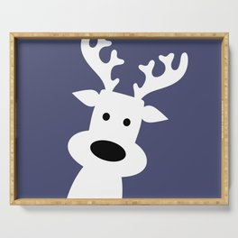 Reindeer on blue background Serving Tray