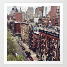 New York street views - Chinatown from Manhattan bridge Art Print